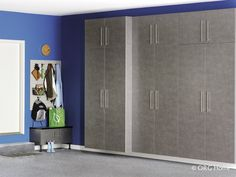 Stash or grab sports equipment in full-extending baskets on heavy duty slides. Rugged wall accessories keep tools and hoses ready. A boot bench with added storage provides a handy perch for gearing up or down. Custom Closet Design, Custom Closets, Closet Designs, Garage Organization Systems, Entryway Organization, Organizing Solutions, Organized Entryway, Garage Cabinets, Custom Cabinets