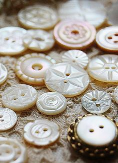 Vintage carved MOP buttons