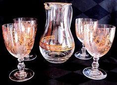 Vintage Fostoria Crystal Pitcher with Goblets Set of 5 Gold Engraved Design. Fostoria Crystal, Crystal Glassware, Antique Stores, Vintage Glassware, Hurricane Glass, Crystals, Antiques, Tableware, Beverage