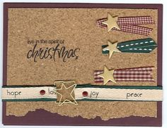 """""""live in the spirit of Christmas"""" Card Creative Impressions Ribbon/Brads/Cork Paper/Clips"""