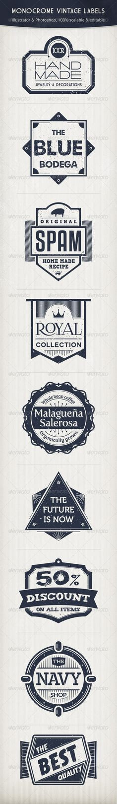 Monochrome Vintage Labels | typography