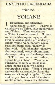 Xhosa Bible from WorldScriptures.org