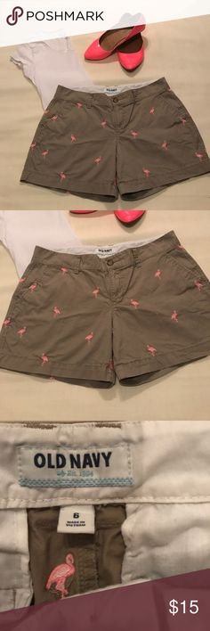 Old navy flamingo print khakis Listing is for an Old Navy flamingo print khakis. Size 6. Like new condition. Neon pink flats size 9 are available in my closet for purchase Old Navy Shorts