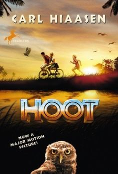 Hoot by Carl Hiaasen; reading this to the kiddos right now. Hoot Book, Book Club Books, The Book, Carl Hiaasen, Owl Books, Realistic Fiction, Wimpy Kid, Happy Earth, Books For Teens