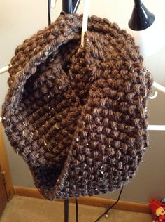 Brown hand knitted infinity scarf on Etsy, $27.00