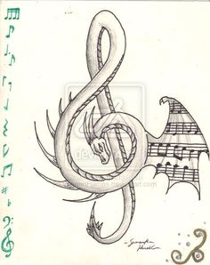 Dragon Treble Clef - My list of best tattoo models Music Drawings, Pencil Art Drawings, Cute Drawings, Tattoo Drawings, Drawing Sketches, Dragon Drawings, Tattoo Cat, Music Artwork, Drawing Ideas