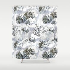 Hydrangea shower curtain powder blue floral design by NewCreatioNZ, $109.00