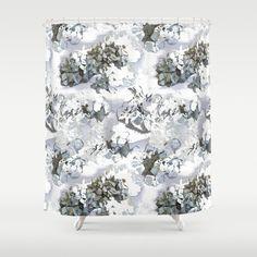 Flower shower curtain hydrangea powder blue floral by NewCreatioNZ