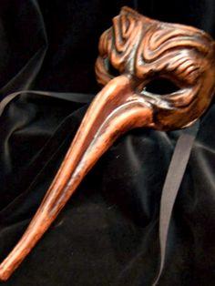 Brown Gothic Mask - Halloween Mask - Handmade Venetian Mask - Commedia dell'Arte Mask. $35.00 - Photo shoot idea