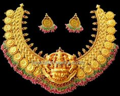 gold broad necklace with temple locket varakrupa jewellers