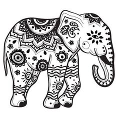 Mandala Indian Elephant Tattoo Stencil By
