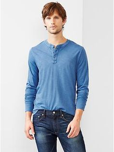Lived-in solid henley XS Peninsula blue & white
