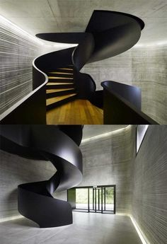 Staircase Design, Awesome Stair Treatments Called Black Spiral Stairs Design Also Concrete Wall And Ceiling Also Laminate Staircase Material. Amazing Architecture, Architecture Details, Interior Architecture, Staircase Architecture, Modern Staircase, Staircase Design, Contemporary Stairs, Stair Design, Black Staircase