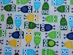 Anne Kelle Fabric, cute green lime yellow blue owls.