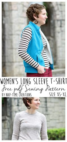 Long Sleeve T-Shirt Pattern FREE size xs-xl found on Nap-Time Creations