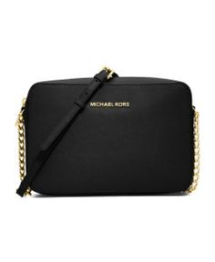"""Michael Michael Kors - Large Jet Set Crossbody -->   Black saffiano.  6""""H x 9""""W x 25..5""""D.  Golden hardware.  Chain and leather crossbody strap.  Top zip.  Inside, open pockets.  Imported."""