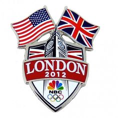 2012 Olympics NBC Dual Flags Pin