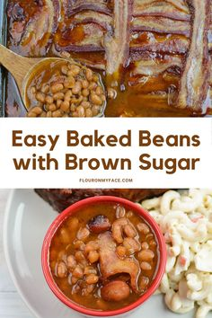 Best Barbecue side dish recipe for Southern Baked Beans with bacon and brown sugar. Serve this easy side dish with ribs, chicken or beef.