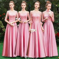 fd2693ada05 Affordable Candy Pink Satin Bridesmaid Dresses 2019 A-Line   Princess  Floor-Length   Long Ruffle Backless Wedding Party Dresses