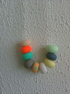 Emily Green 'Peach Polka' Sterling Silver Necklace    Emily Green is a Melbourne based designer who makes artworks, brooches and necklaces that explore colour, chaotic geometric shapes and soft, organic forms. Her designs are inspired by her love of colour and the aesthetic of Melbourne's inner north. available at www.childrensdept.com.au