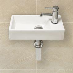 Modern Design Small Slimline Right Hand Square Clockroom Basin Sink £39.99 eBay 400mm x 200mm