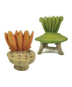 Look what I found on #zulily! Fairy Leaf Chair Figurine Set by Blossom Bucket #zulilyfinds