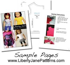 FREE trendy tee doll clothes pattern for American Girl Dolls. Download, Print, sew!