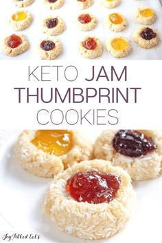 Jam Thumbprint Cookies are a holiday classic I don't think I've ever been to a cookie exchange where someone didn't make these. They are very easy to make, pretty, and tasty. This easy recipe is low carb, keto, gluten-free, grain-free, sugar-free, and Trim Healthy Mama friendly. Sugar Free Desserts, Low Carb Desserts, Gluten Free Desserts, Low Carb Recipes, Low Carb Lunch, Low Carb Breakfast, Low Carb Keto, Keto Dessert Easy, Dessert Recipes