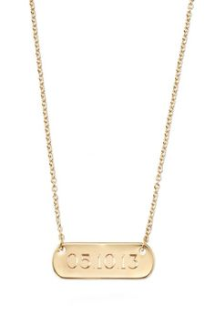 Create a monogram necklace or nameplate necklace for yourself or  loved ones. The Signature Engravable Bar Necklace from Stella & Dot comes in silver & gold.