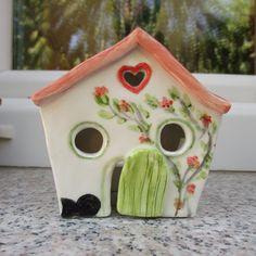Cute Ceramic Crooked Cottage,Tea light House,Tea light Holder,Pottery House,Fairy House,Small ceramic cottage,luminary house,cute fairy home by TatjanaCeramics on Etsy