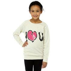 Girl's cream 'I love u' sweatshirt - Jumpers - Jumpers & cardigans - Kids -