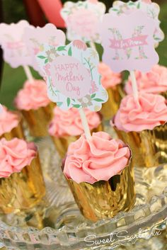 Gold wrapped cupcakes at a Mother's Day Party!  See more party ideas at CatchMyParty.com!