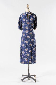 1930s dress large / 30s handpainted style dress