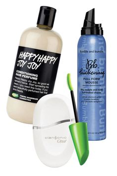Clarisonic Opal, $185; neimanmarcus.com; CoverGirl Clump Crusher by LashBlast Mascara, $5.70; target.com  Bumble and bumble Thickening Full Form Mousse, $29; sephora.com  LUSH Happy Happy Joy Joy Orange Blossom Conditioner, $12.95; lushusa.com   - ELLE.com