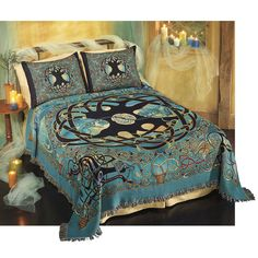 """Pyramid Collection Eternity Tree Celtic Bedspread / Bed Set / Bedding  ****************""""Sleep soundly beneath the Celtic Realm's eternal Tree of Life! Welsh-born artist Jen Delyth's original, super-detailed painting transforms into a gorgeous, fringed bedspread and matching pillow sham."""""""