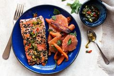 Sesame-crusted salmon with Cara Cara orange and roasted carrot salad