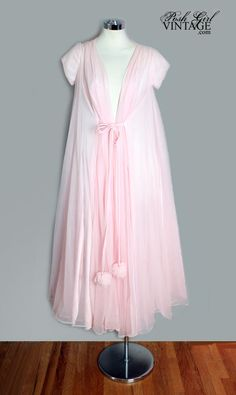 453c4e717b Pink Luci Ann Sweeping Peignoir Robe W  Puff Balls at Posh girl vintage  clothing store   designer lingerie resale shop.