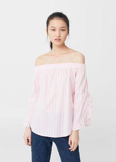 Blusa off-shoulder popeline - Camicie da Donna   MANGO Italia