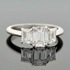 TIFFANY & Co. Platinum 3-Stone Diamond Engagement Ring 2.05ctw