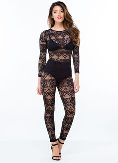 a0fa85634e810 Lace Be Clear Geometric Bodysuit
