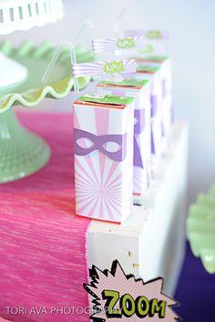 Girly Super Hero juice boxes