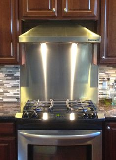 Easy to clean, free custom cut-to-size kitchen backsplash sheets from x to x Stainless Steel Panels, Stainless Steel Sheet, Stainless Steel Kitchen, Sheet Metal Backsplash, Backsplash Panels, Stainless Backsplash, Kitchen Backsplash, Kitchen Appliances, Kitchen Layout