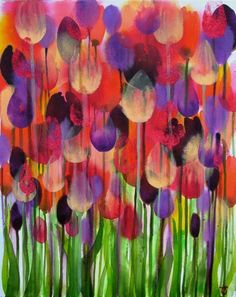 ARTFINDER: Spring Fever by Theresa Shaw - A tulip field in full bloom is a wonder to behold! The colours are unbelievably bold and lift the heart with their intensity. Layer upon layer of colour as f...