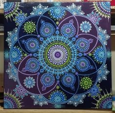 Beautiful mandala art notecard - beautiful gift idea present diy cyo Mandala Art, Mandala Rocks, Mandala Painting, Mandala Pattern, Mandala Design, Dot Art Painting, Types Of Painting, Fabric Painting, Record Crafts