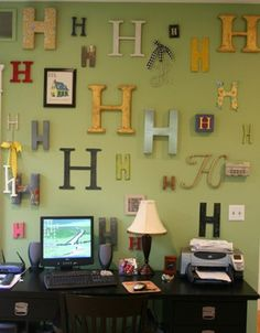 3 D letters made from foam board insulation....Brilliant idea!    Full instructions at  http://www.wackywhimsy.com/2010/03/one-sheet-of-foam-day-4.html