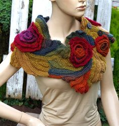 Scarf Crochet Rainbow Roses Capelet Button Neck Warmer Freeform crochet Women Freeform Crochet Roses Textured cape crochet flower shawl Gift: