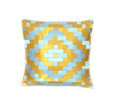 Alfa img - Showing > Light Blue Gold Decorative Pillows