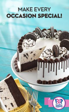 Want to try the ice cream cake dessert lovers are raving about? The OREO® Cookie Cake is sure to be the highlight of any party!  Customize this sensational treat with your favorite cake, ice cream flavor, and top it all off with OREO(R) cookies! Order one online or pick one up in-shop today!