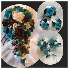 Bridal Bouquet Brown Turquoise Malibu Wedding Flower Package  | eBay