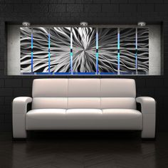 """""""Cosmic Energy"""" Large 68""""x24"""" Abstract Metal Wall Art with LED Infused Color Changing Lighting  & Remote Control"""
